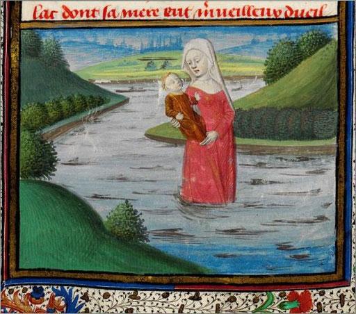 Viviane emportant l'enfant Lancelot.
