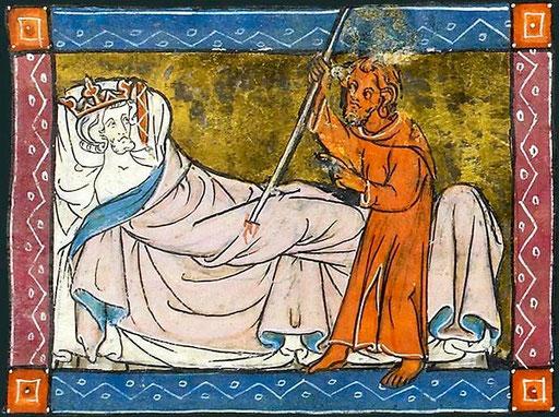 Le Coup Douloureux. Le roi Pêcheur blessé à la cuisse.