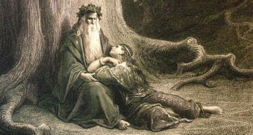 Merlin et Viviane dans la forêt de Brocéliande.