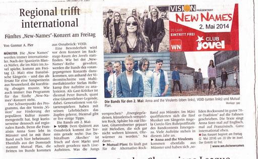 Quelle: Westfälische Nachrichten, 2.5.2014