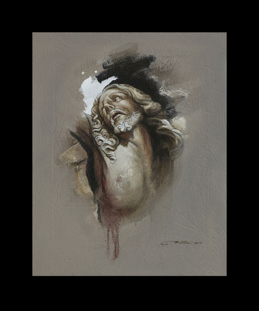 étude Christique, portrait du Christ, huile sur toile, peinture contemporaine
