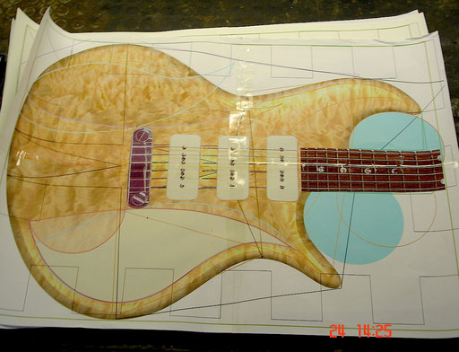 "the ""life-size"" Photoshop design I took to Formentera ...with a pickguard option."