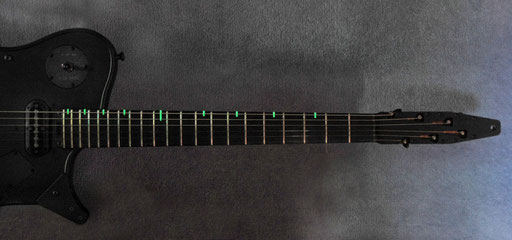 Chris` new M-9 guitar type with glowing fretboard markers!