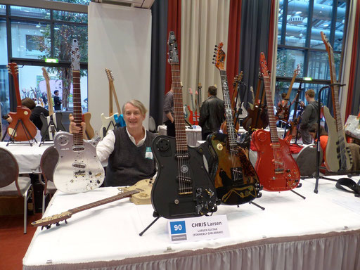 Chris Larsen with his latest guitars in Berlin at the Holy Grail Guitar Show. November 2014.