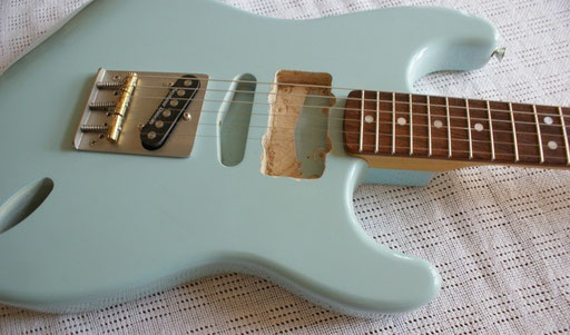amazing MUSIKRAFT stuff! Nitro sonic blue on 2-piece swamp ash