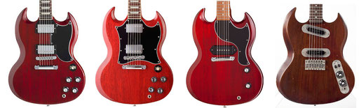 "Gibson SG Standard (original), newer Standard with big ugly pickguard, Junior with sexy pickguard and SG-50 ""Telecaster-style"". click to enlarge"