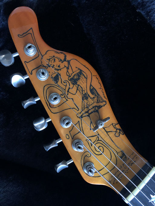 """a special headstock """"Girl""""...platinum blonde like Marilyn, and drinking. Cheers!"""