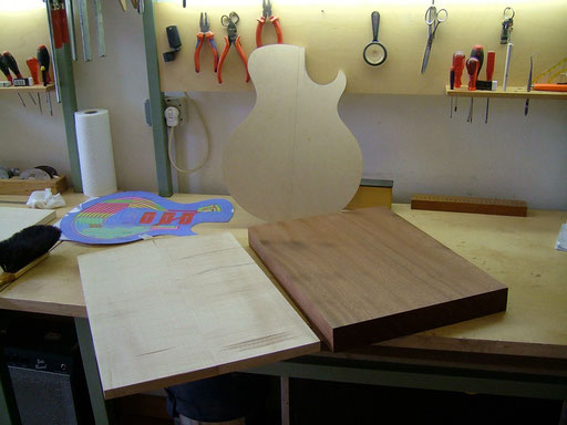 big sipo one-piece back, bookmatched maple top, plywood template made after my digital paper drawing
