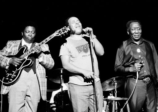 Another picture. I want this Lucille model! B.B, James Cotton and Muddy Waters, june, 29th 1979.