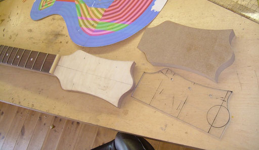 the headstock got a maple top and its final shaping. First a drawing, then an acrylic template, then a fat mdf-template to guide the router