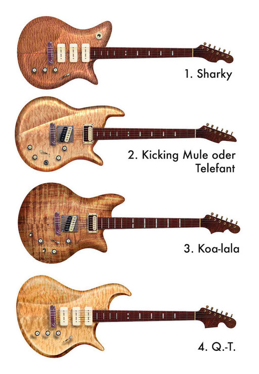 "My Formentera was called ""Q.T."" when I designed it in 2005 together with these 3 other guitars. Instead of fretboard dots these guitars have small blocks - or stripes - ... all with the same distance. This way it looks cool. click to enlarge."