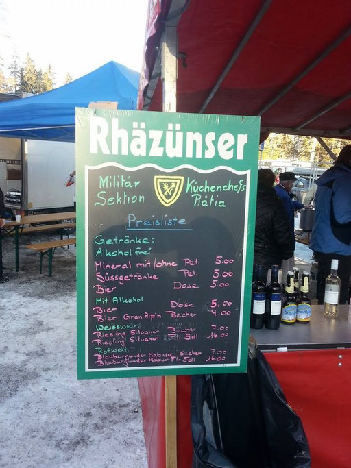 Menü- und Getränkekarte an der Tour de Ski