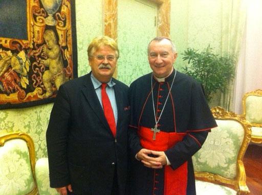 Elmar Brok MdEP (CDU/EVP), Vorsitzender des Auswärtigen Ausschusses des Europäischen Parlamentes, bei Seiner Eminenz Pietro Kardinal Parolin in Rom