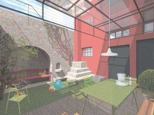 PATIO Innenhofgestaltung eines innerstädtischen Wohnhhauses in Boppard