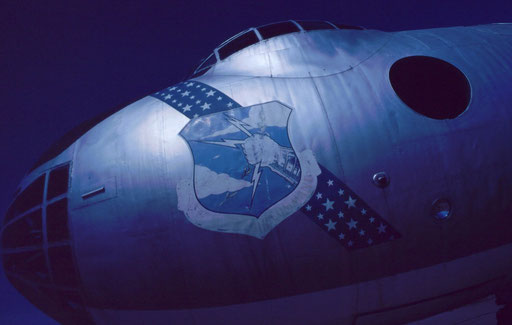 The nose of a derelict B-36 -- the largest bomber ever to fly -- shows the faded mailed-fist escutcheon of the Strategic Air Command. Never used in combat, these intercontinental bombers were a large part of SAC's front line from 1948 to 1959.