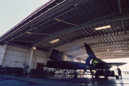 Destination unknown: with a green burst of flame, No. 2 engine roars to life as this SR-71 prepares for its last operational reconnaissance mission from Kadena Air Base, Okinawa, Japan.