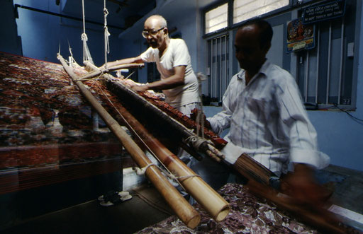 Patola weavers at work, Patan, Gujarat, India.