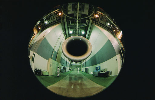 An indoor testing chamber for airliners' jet engines; Narita, Japan.