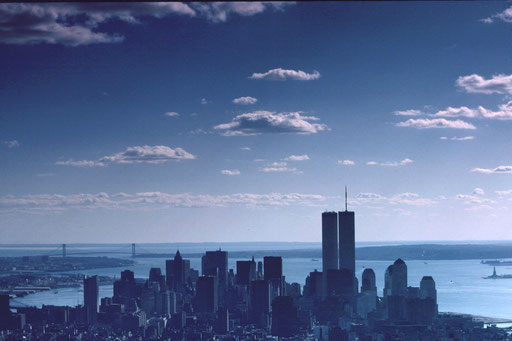 New York City on an autumn afternoon in 1985, looking south from the Empire State Building.  Lower Manhattan is in the foreground, with the Statue of Liberty visible at right and the Verrazano Narrows bridge in the distance at left.