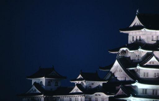 Himeji Castle, illuminated.