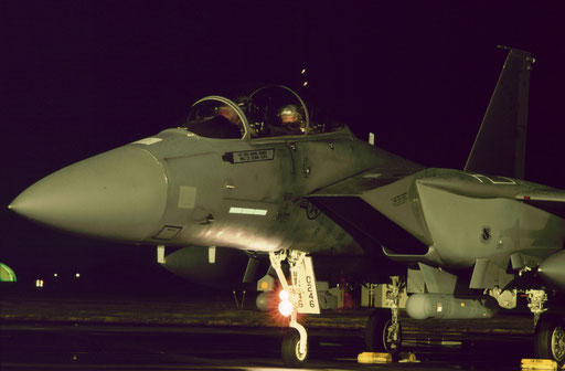 An Alaska-based F-15E Strike Eagle ready to taxi out for a night mission during a Cope North bilateral JASDF-USAF exercise.