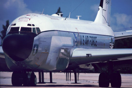"Studded and swollen with grotesque antennas, ""Ghost Rider"" -- an RC-135 Rivet Joint electronic reconnaissance aircraft -- rolls out for takeoff."