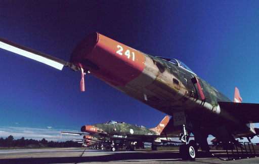 Once in the vanguard, F-100s were the first supersonic aircraft to carry nuclear weapons. These war-weary examples were retired and converted for use as QF-100 drones and ended their service lives as air-to-air missile targets.
