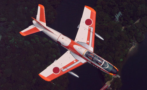A JASDF T-1 jet trainer from above.