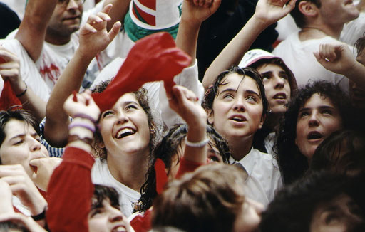 Young faces in the crowd as the Sanfermines begin.