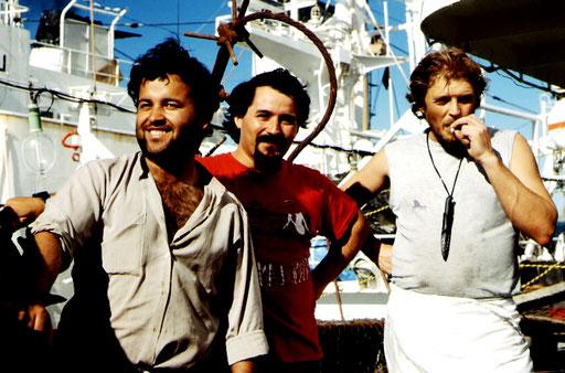 Squid fishermen, Puerto Deseado, Argentina.
