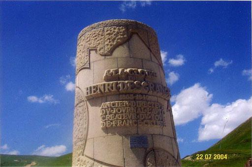 "Am Galibier - Denkmal für Henry Desgrange, dem ""Erfinder"" der Tour de France"
