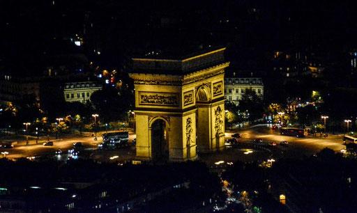 Blick vom 2. Stock des Eiffelturms auf den Arc de Triomphe