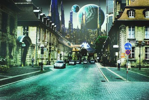 Die Friedrichstraße in Bayreuth im Jahr 2500? Ob da unsere Stadtplaner mitmachen? Montage: Daniel Schlenk