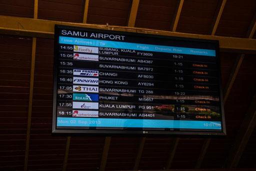 Mehrmals täglich fliegt Bangkok Airways u. a. die Strecke Bangkok-Koh Samui