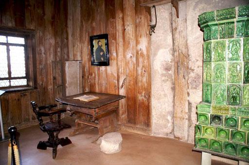 Luthers 1-Zimmer-Apartment auf der Wartburg, wo er sich mehrere Jahre versteckt hielt