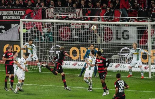 Beim Bundesligaspiel Bayer Leverkusen-Borussia Mönchengladbach (5:0)