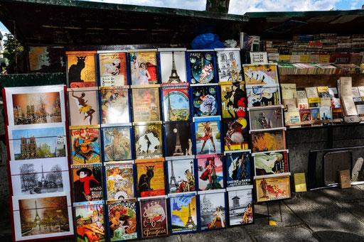 Nur ein Stand von Hunderten. Die Bouquinisten bevölkern mit ihrem reichhaltigen Angebot an Büchern das Seineufer vor der Notre Dame