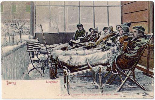 Liegekur Davos im Winter, Postkarte ca. 1910