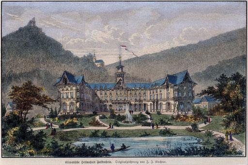 Klimatische Heilanstalt Falkenstein 1875 Kolorierter Holzstich nach einer Zeichnung von J. J. Kirchner