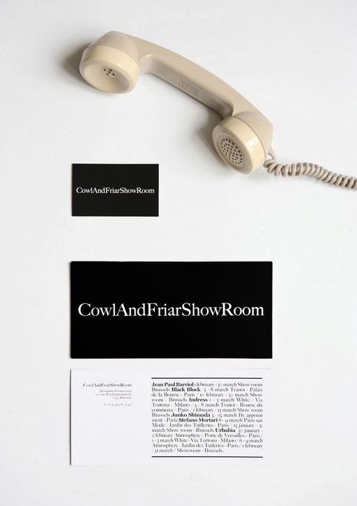 art direction, graphic design, aude buttazzoni, cowl and friar, showroom, invitation, stationery