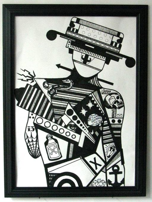 SIDESHOW-43/52cm-encre sur papier-2014