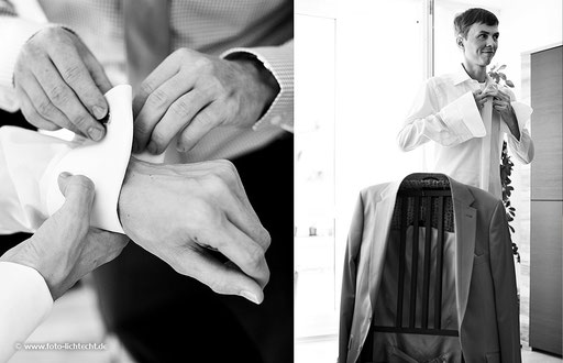 bräutigam, ankleiden, fotograf