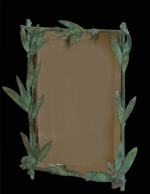 Bronze frame and mirror, 53 x 43 cm