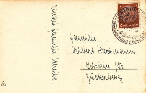 """Poststempel von 1939 """"Mittelalterlicher Luftkurort Staatslehranstalt für Hoch und Tiefbau"""""""