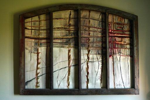 """""""Le chemin"""" 114/150.Huile, bitume, fusain. Toile contrecollée sur bois."""