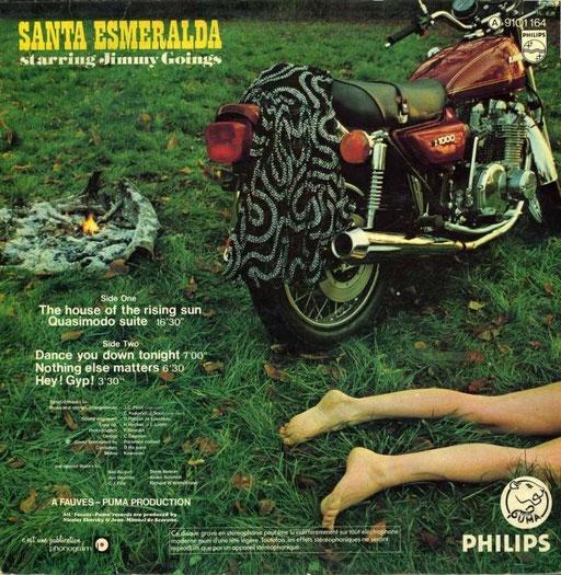 Verso de la pochette du 33 Tours  SANTA ESMERALDA - LE PENITENCIER