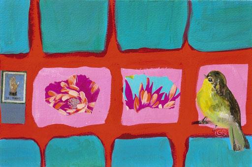 peinture et collage oiseau