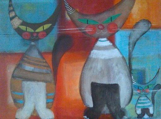 Peinture de chats sur toile