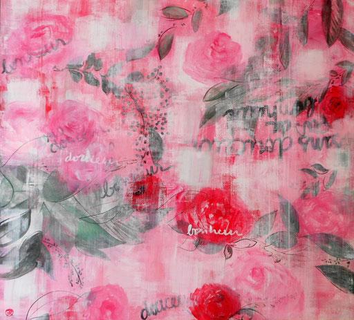 peinture rose, fleurs