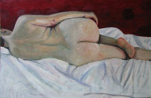 liegender Akt, Format 125 x 80 cm, Eitempera/Öl-Lasur auf Leinwand, 2013